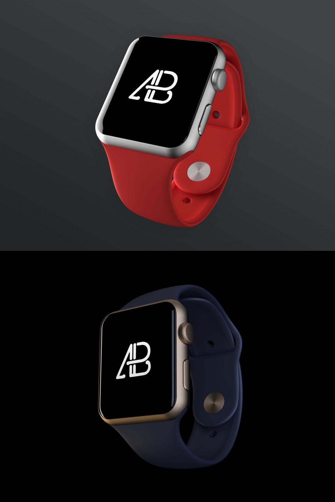 两枚高品质的Apple Watch展示模型Mockups免费下载[PSD]