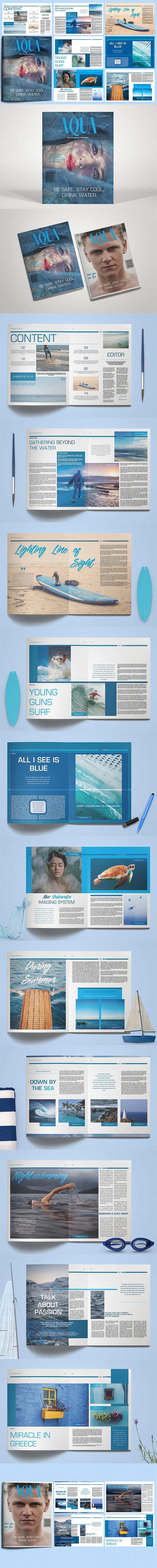 蓝色时尚的多用途画册杂志模版下载[indd]