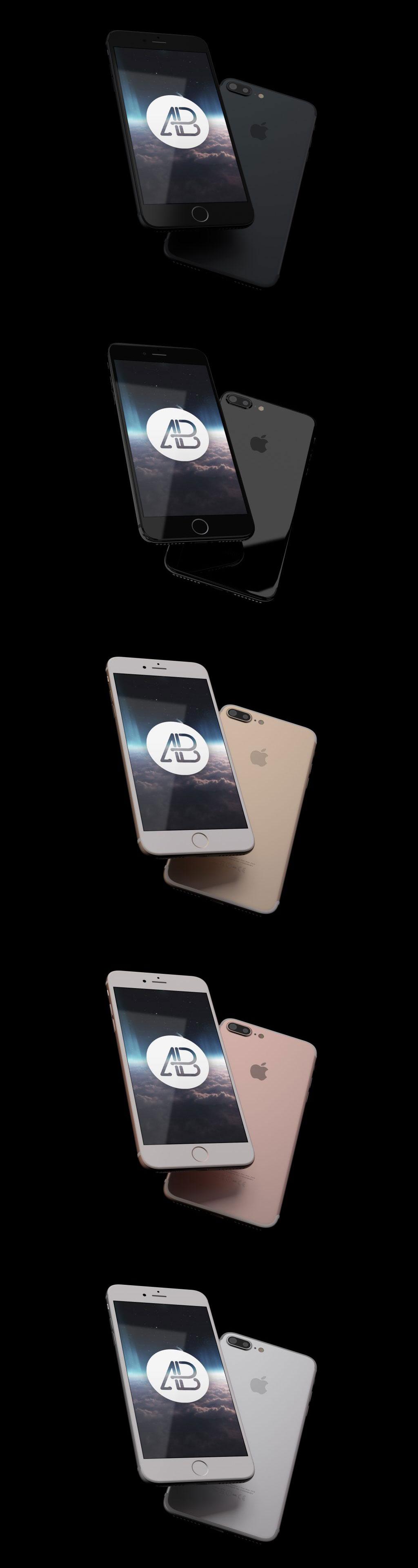 酷炫的iPhone7 Plus全色套装展示模型Mockups免费下载[PSD]