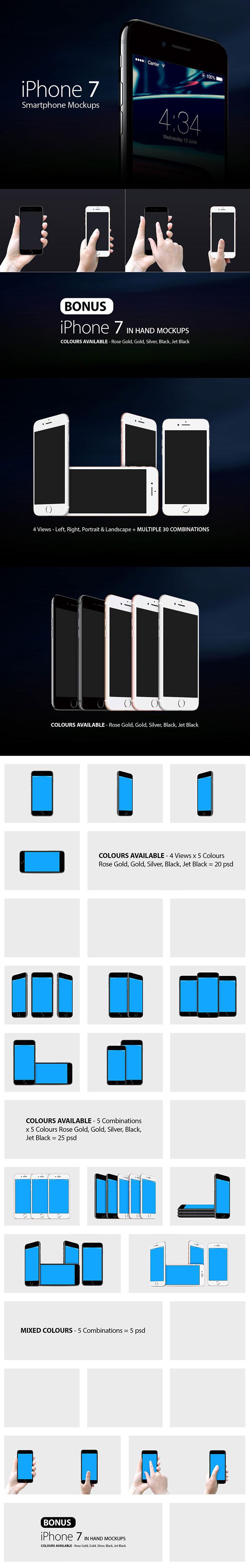 完美的手持iPhone7展示模型Mockups下载[PSD]