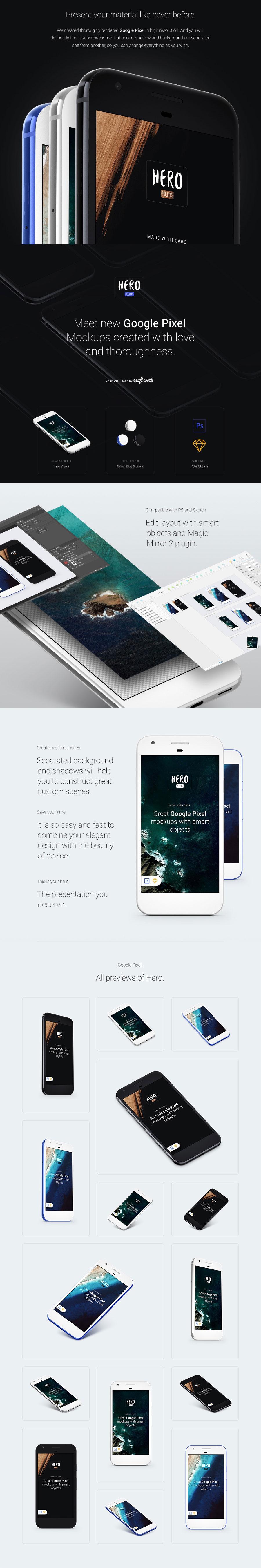 Google Pixel完美的安卓UI设计展示模型Mockup免费下载[PSD]