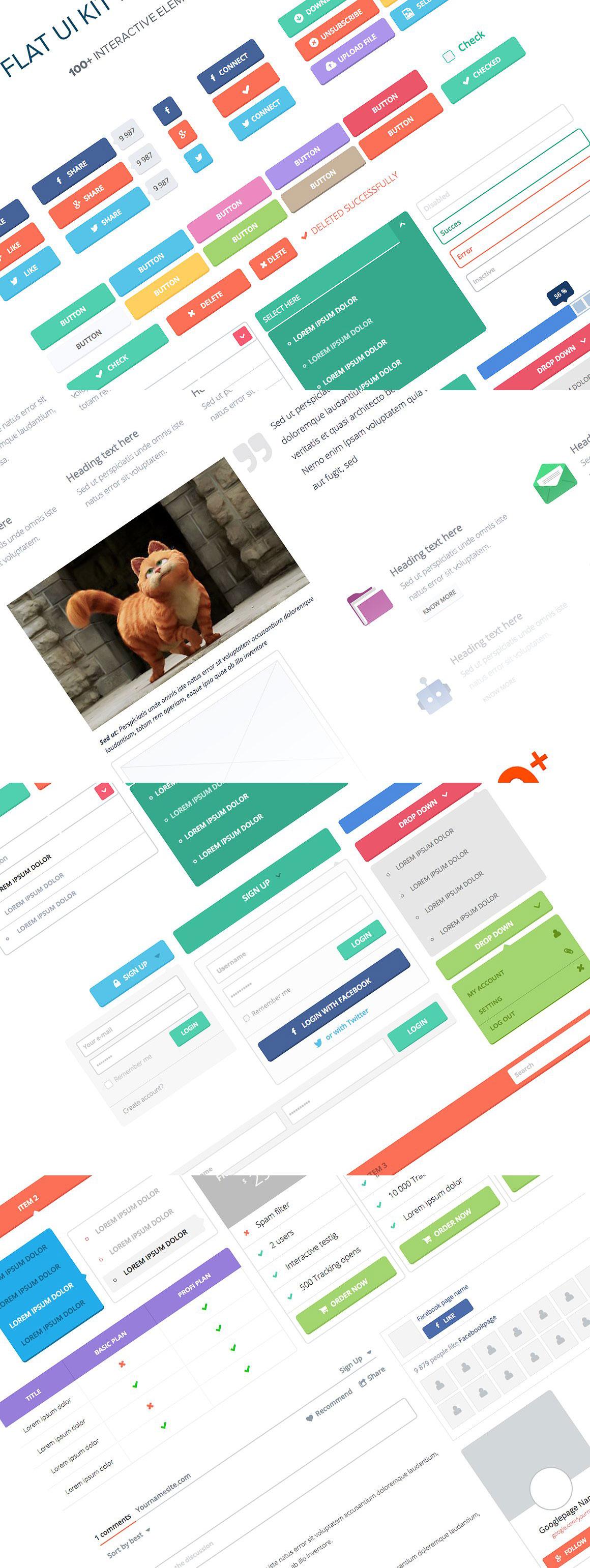 100种完美的Axure制作的扁平化WEB UI组件套装下载