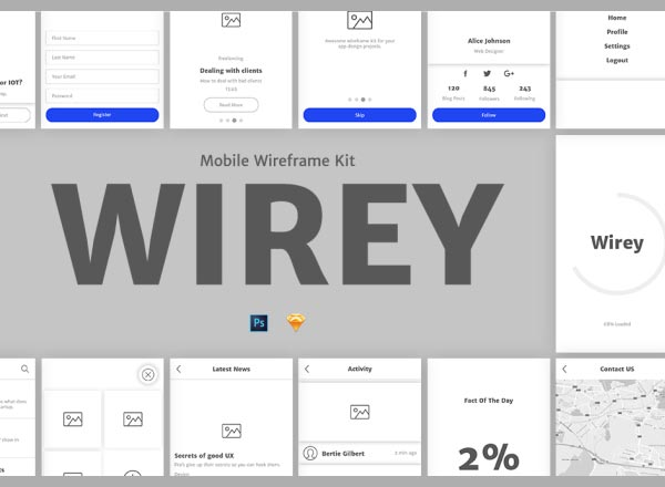 多功能的APP线框图套装下载(Wireframe Kit)[sketch,PSD]