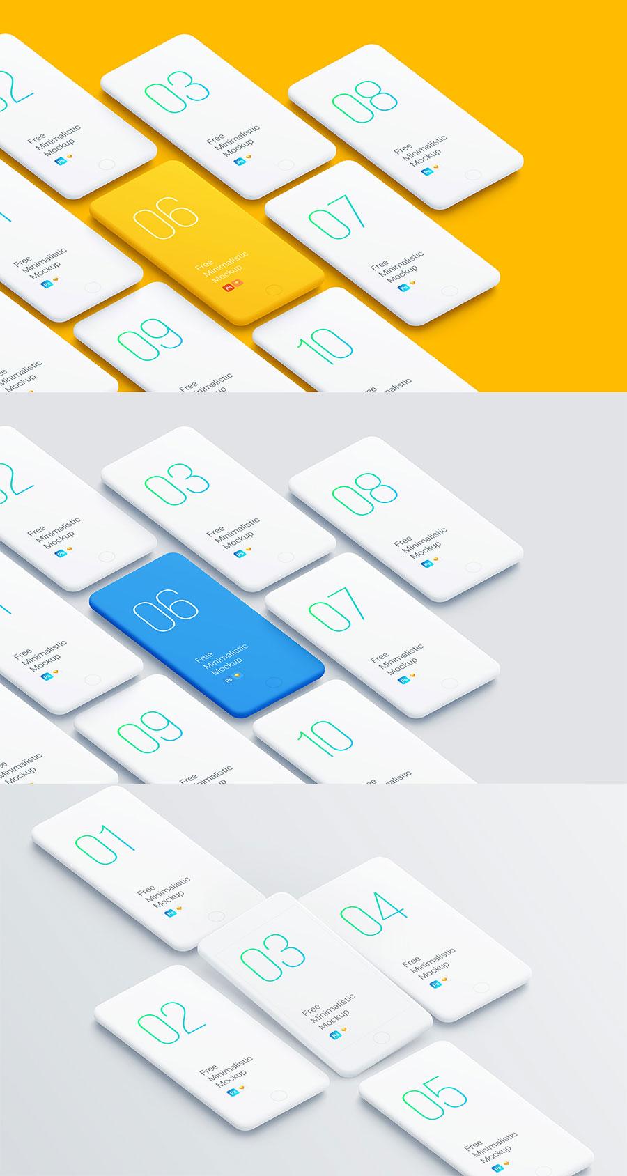 常见的透视角度的展示全套APP UI KITS设计的iPhone展示模型下载[PSD,Sketch]