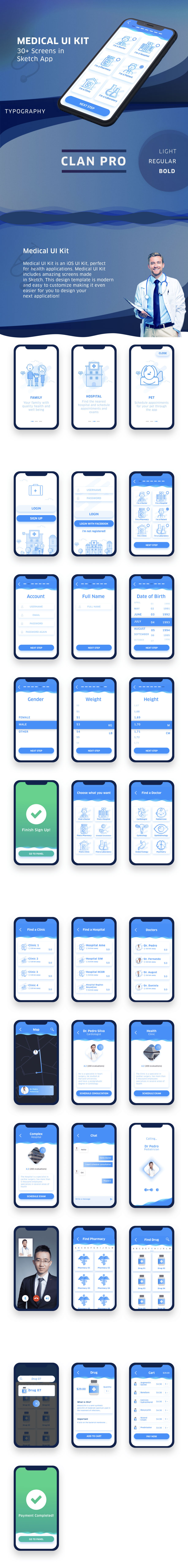 iPhone X医疗就诊和预约类APP Ui Kits模板下载[Sketch]