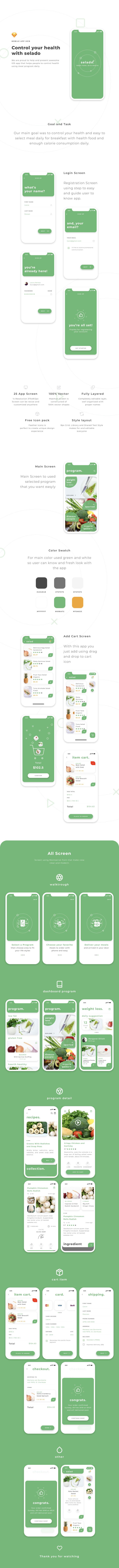 一套清新的健康管理(生鲜电商)应用APP UI KITS下载[sketch]