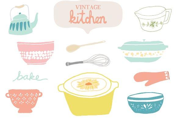 <span class='yzk_title_61465'>复古厨房插画图形 Vintage Kitchen Clip Ar</span>