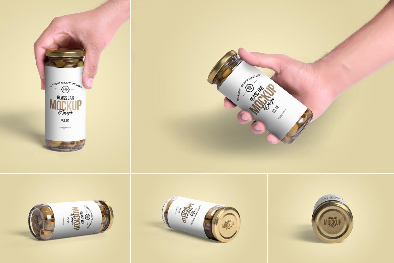 <span class='yzk_title_61979'>5个高品质的橄榄玻璃罐头包装设计VI样机展示模型mockups</span>