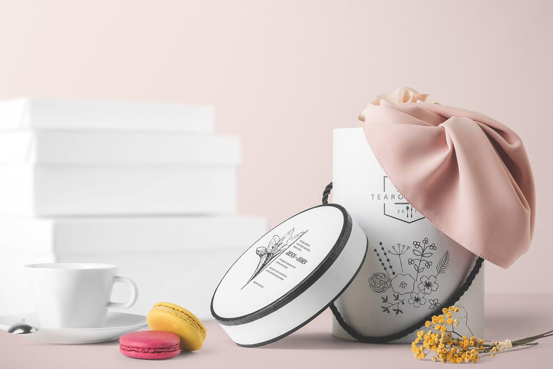 <span class='yzk_title_61980'>高品质的高端时尚的茶叶化妆品礼物礼品盒包装盒设计VI样机展示模型mockups</span>