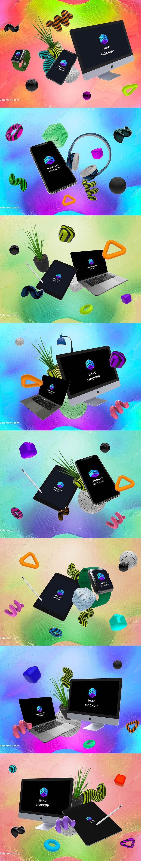苹果设备概念创意组合样机Mockups下载第二集 [PSD,iPad,iPhone,iMac,MacBook]
