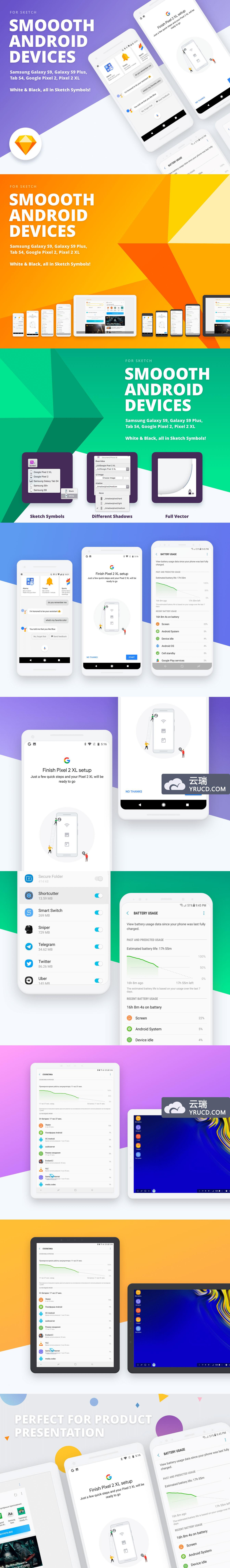 好用的扁平化风格的Android安卓手机APP设计展示样机 [Sketch]