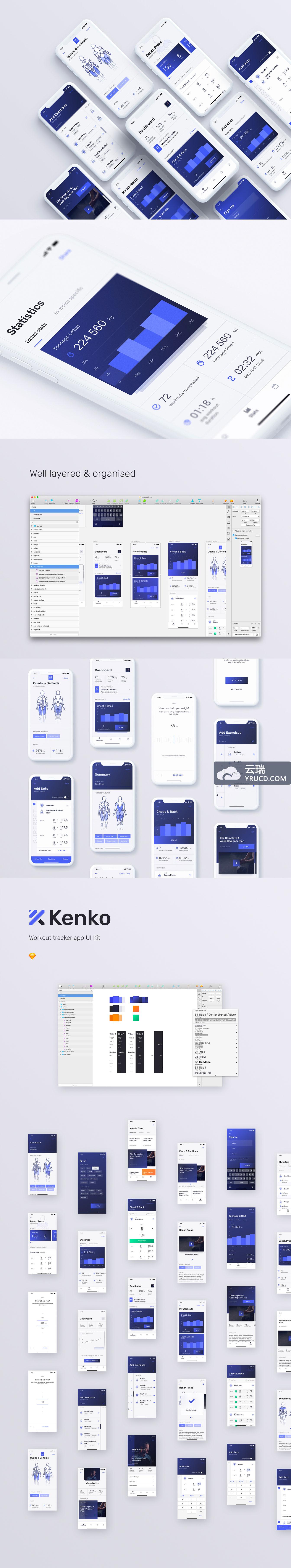 精品:一套人体健康数据展示功能的 APP UI KITS 下载[iOS,Sketch]