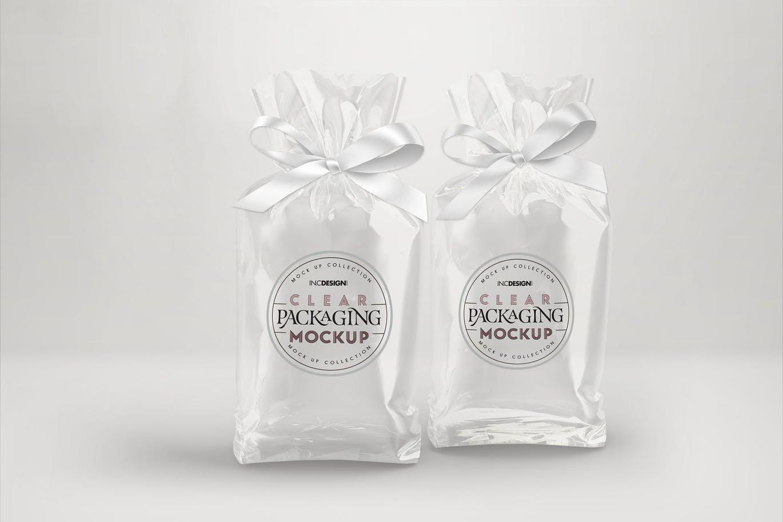 <span class='yzk_title_61380'>高品质的逼真质感的透明糖果袋与丝带包装设计样机VI展示模型mockups</span>