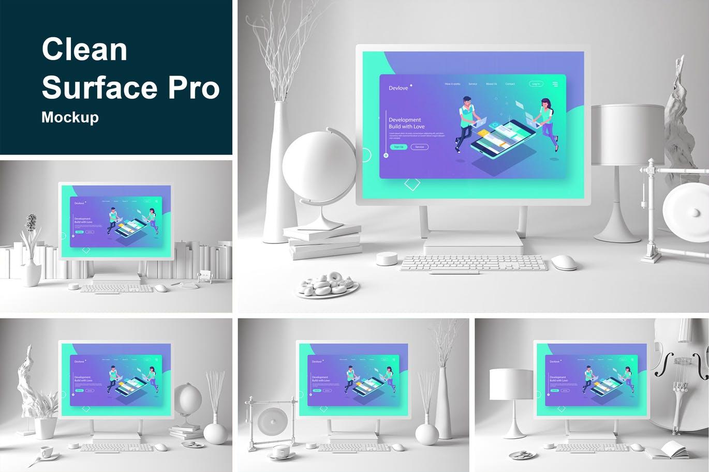 <span class='yzk_title_61661'>时尚清新的白色质感的Surface Pro UI样机展示模型mockups智能样机</span>