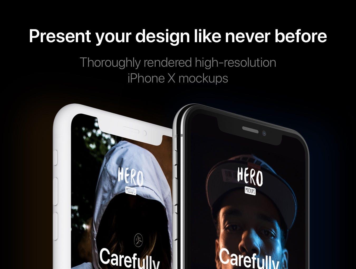 <span class='yzk_title_61157'>高品质的高端时尚质感的iPhone X特写角度UI样机展示模型mockups</span>
