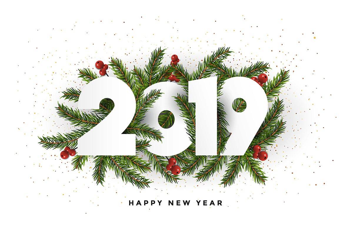 <span class='yzk_title_61450'>时尚高端好用的新年快乐2019年圣诞节贺卡banner海报设计模板</span>