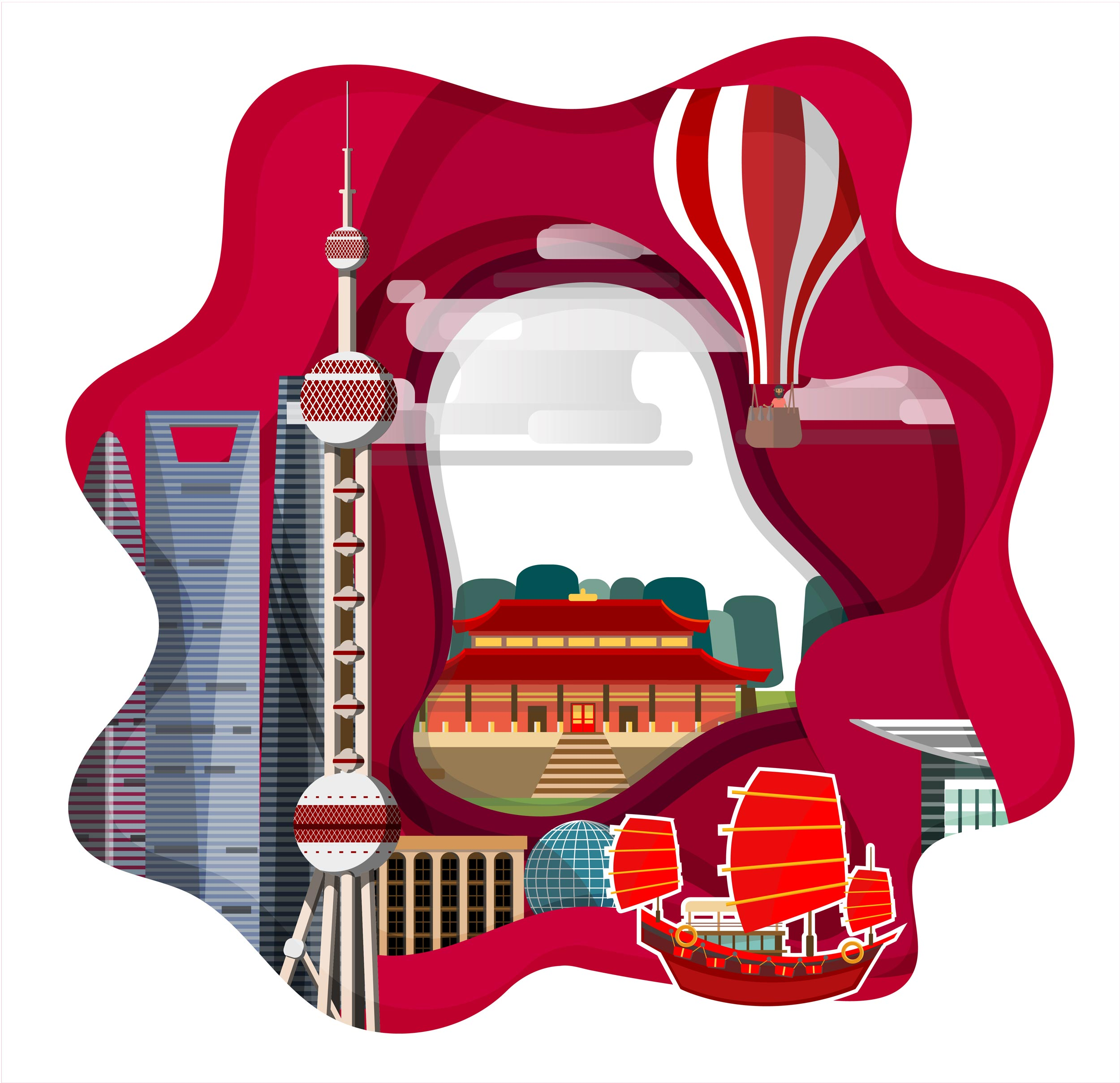 <span class='yzk_title_62121'>时尚简约扁平化风格的中国风中国标志性城市建筑</span>