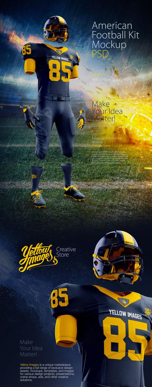 酷炫的美式足球(橄榄球)球服头盔等套装设计样机套装[PSD]