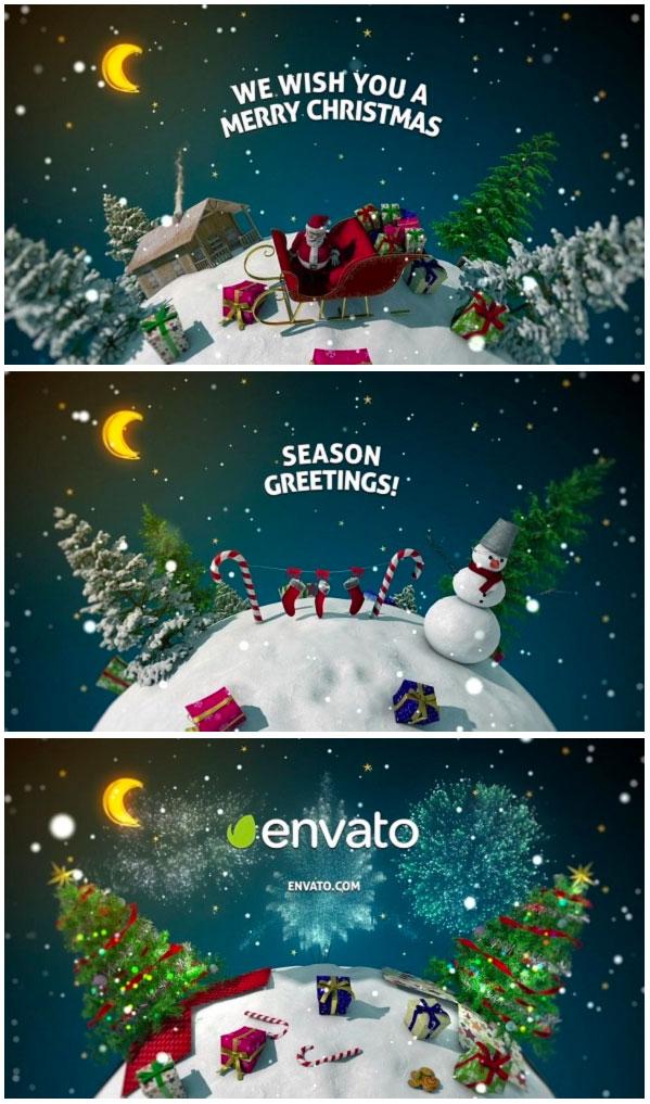 圣诞节新年3D旋转星球AE视频模板下载 [AEP]