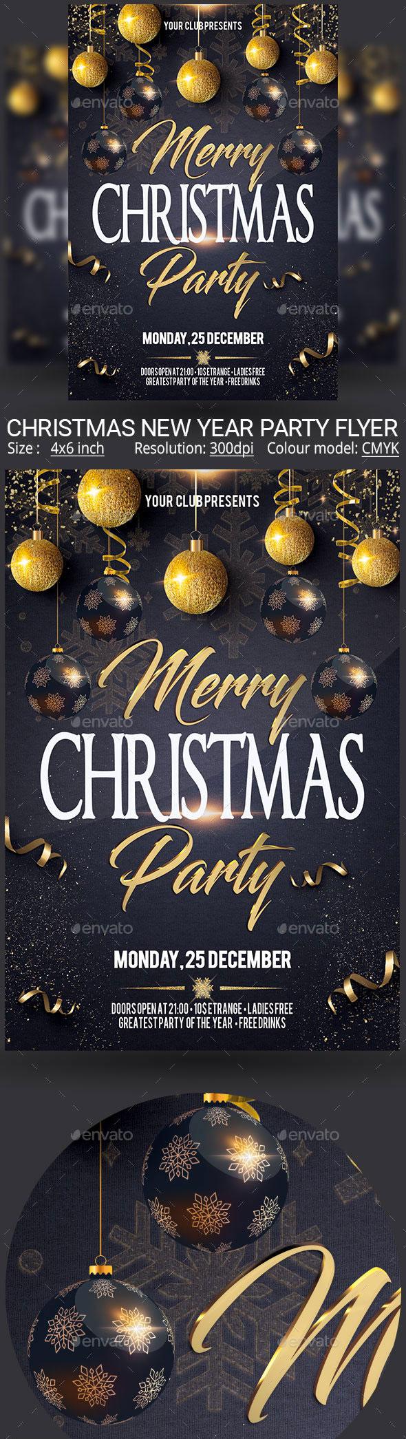 深色圣诞节海报模板[PSD]