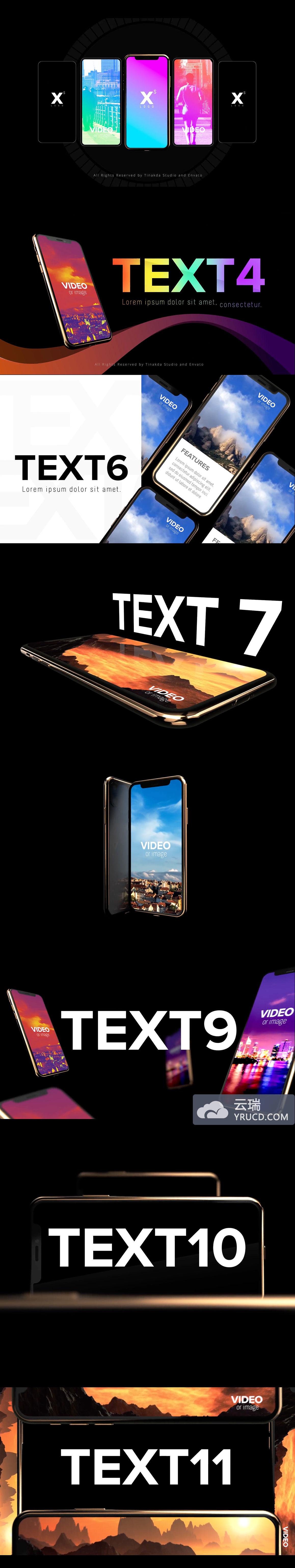 iPhone Xs App 广告多角度手机样机AE模板下载 [AEP]