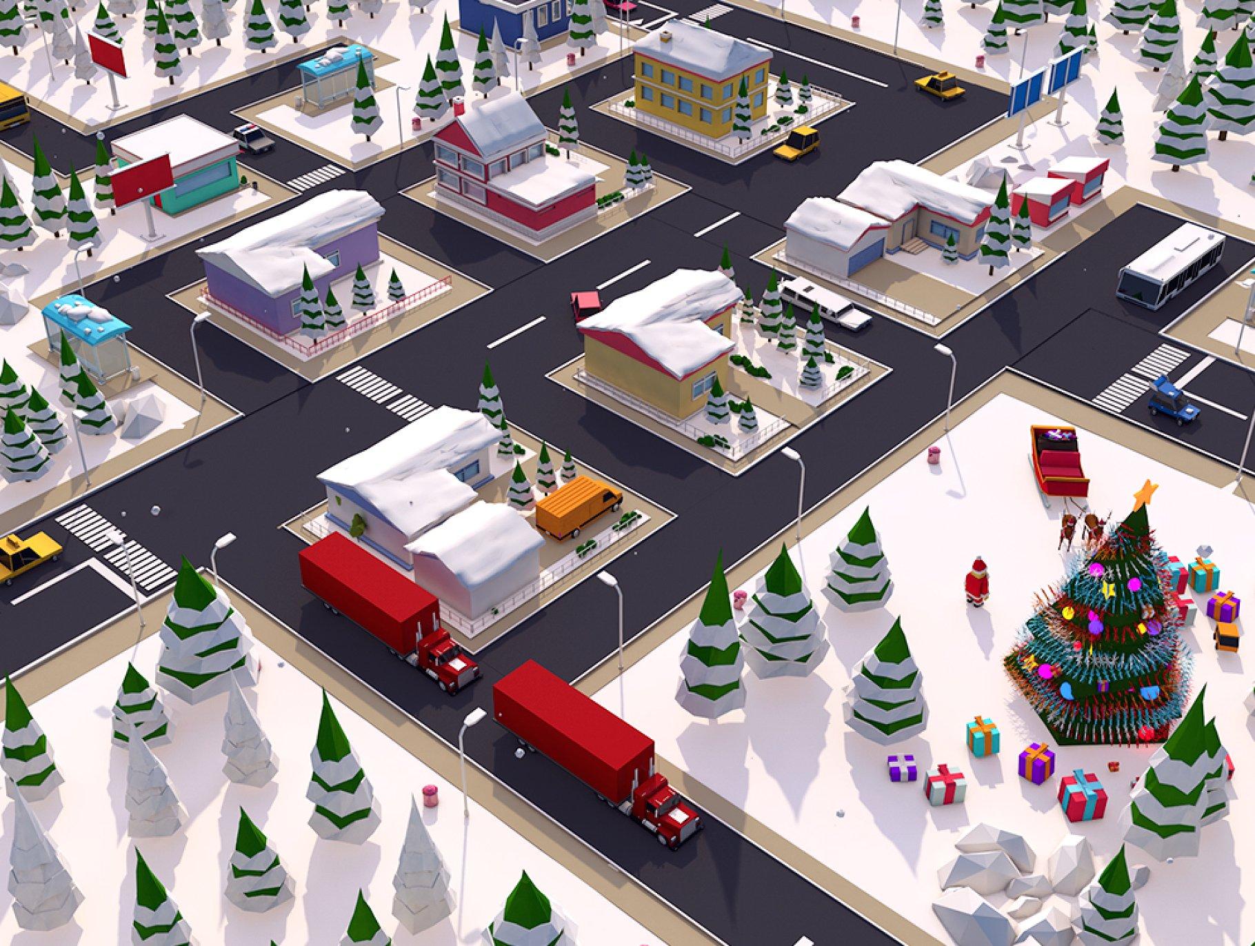 低多边形(Low Poly)冬季圣诞节新年场景的小镇城市大场景C4D素材下载[C4D,3ds,fbx,mtl,obj]