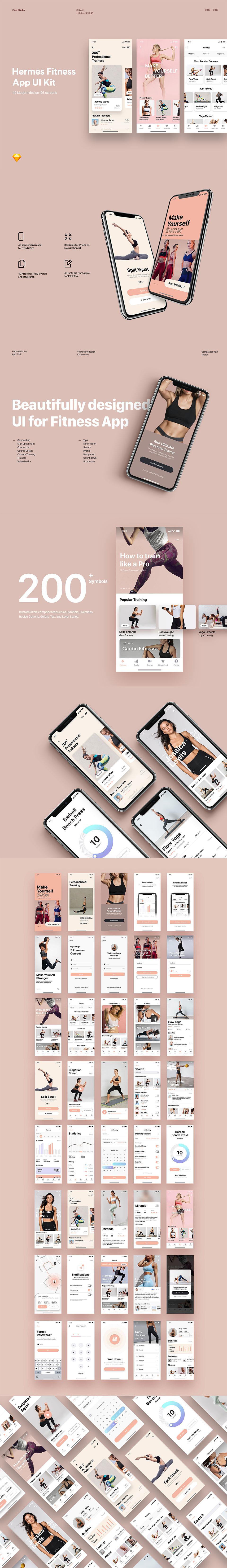 漂亮的粉色女性风格健身运动多功能APP UI KIT模板套装下载 [Sketch]