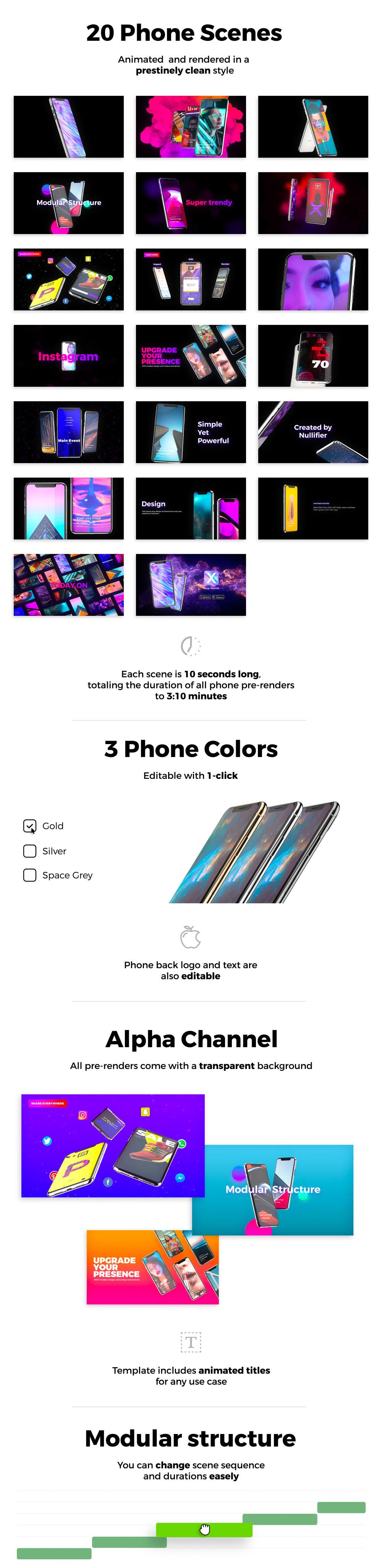时尚的动感的iPhone XS样机手机APP产品介绍视频AE模板下载 [AEP,3GB+,无插件]